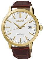 Seiko Gents Stainless Steel/gold Plate 3-hand Leather Strap Watch Srpa28k1