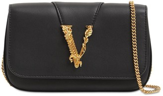 Versace Virtus Leather Shoulder Bag