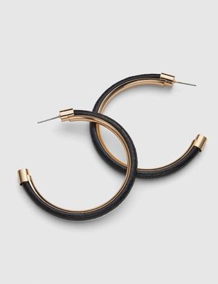 Lane Bryant Faux Leather Hoop Earrings - Black