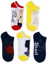 Disney Beauty and the Beast Live action 5 pk No Show Socks