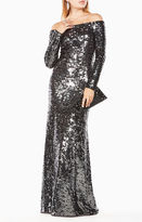 BCBGMAXAZRIA Gloriana Off-The-Shoulder Sequined Gown