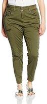 Zizzi Women's Drop Crotch Trousers - Green -