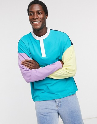 ASOS DESIGN oversized long sleeve pique t-shirt with woven grandad neck and colour block