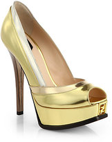 Fendi Fendista Metallic Leather Platform Pumps