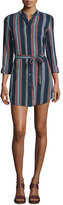 AG Jeans Jett Long-Sleeve Belted Shirtdress, Versi Linen Blue