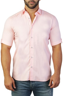 Maceoo Galileo Short Sleeve Solid Tailored Fit Dress Shirt