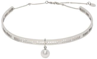 Miu Miu Silver Logo Rigid Necklace