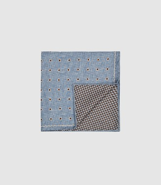 Reiss LIMA SILK DOUBLE SIDED POCKET SQUARE Blue