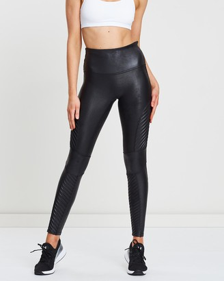 Spanx Women's Black Leggings - Faux Leather Moto Leggings - Size One Size, XS at The Iconic