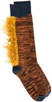 Marni mélange socks with fur trim