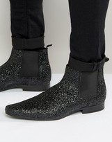 Asos Cheslea Boots In Black Glitter