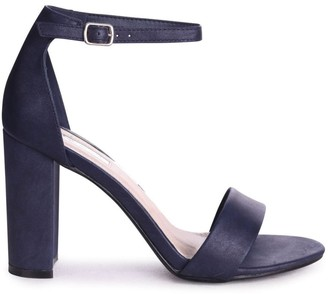 Linzi COLLY - Navy Glitter Nubuck Single Sole Block Heel