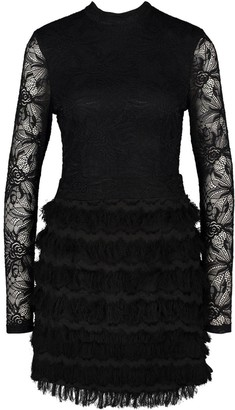 boohoo Lace Fringe High Neck Mini Dress