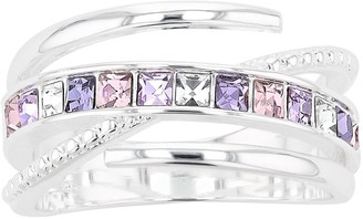 Brilliance+ Brilliance Pink & Purple Crystal Bypass Ring with Swarovski Crystals