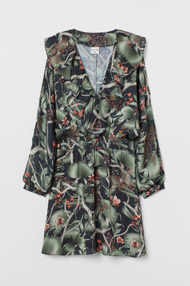 H&M Patterned Dress with Flounce
