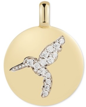 """CHARMBAR Swarovski Zirconia Hummingbird """"Never Give Up"""" Reversible Charm Pendant in 14k Gold-Plated Sterling Silver"""