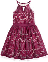 Sequin Hearts Floral-Lace Halter Dress, Big Girls (7-16)