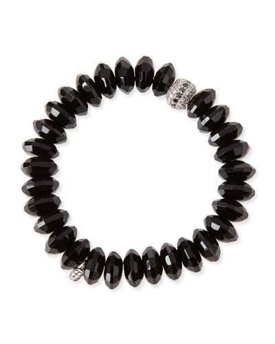 Sydney Evan 12mm Faceted Black Agate Beaded Bracelet w/ 14k White Gold Diamond Disc
