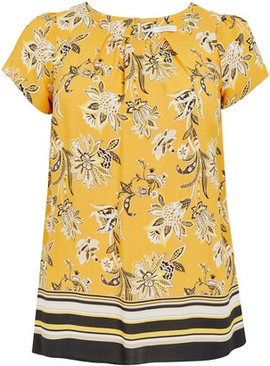 Evans Yellow Floral Print Top