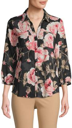 Karl Lagerfeld Paris Floral Three-Quarter Sleeve Shirt