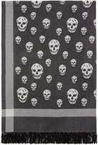 Alexander McQueen Black and Off-white Skull Blanket Scarf