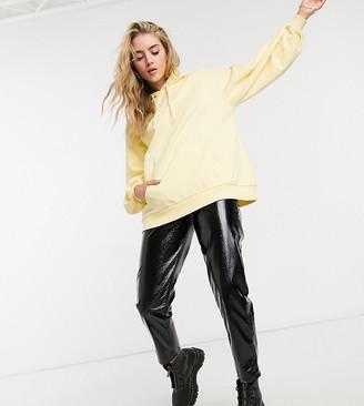 Reclaimed Vintage inspired oversized balloon sleeve pocket hoodie in yellow