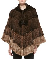 La Fiorentina Colorblock Mink Fur Poncho, Brown