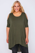 Yours Clothing Khaki Oversized Top With Cold Shoulder Cut Out & Extreme Dipped Hem