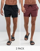 Asos Swim Shorts 2 Pack In Burgundy & Black Short Length