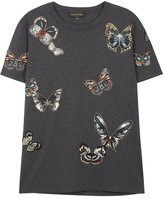 Valentino Grey Butterfly-appliquéd Cotton T-shirt