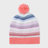 Paul Smith Girls' Knitted Cotton-Cashmere 'Pastel-Stripe' Bobble Hat