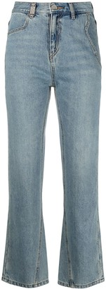 Ader Error Cropped Straight-Leg Jeans