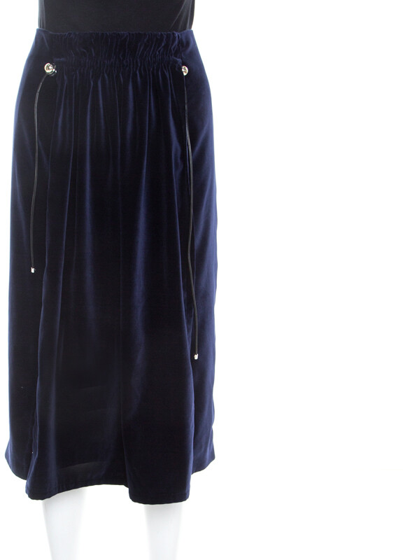 Carven Astral Blue Velvet Coulisse Pleated Skirt L