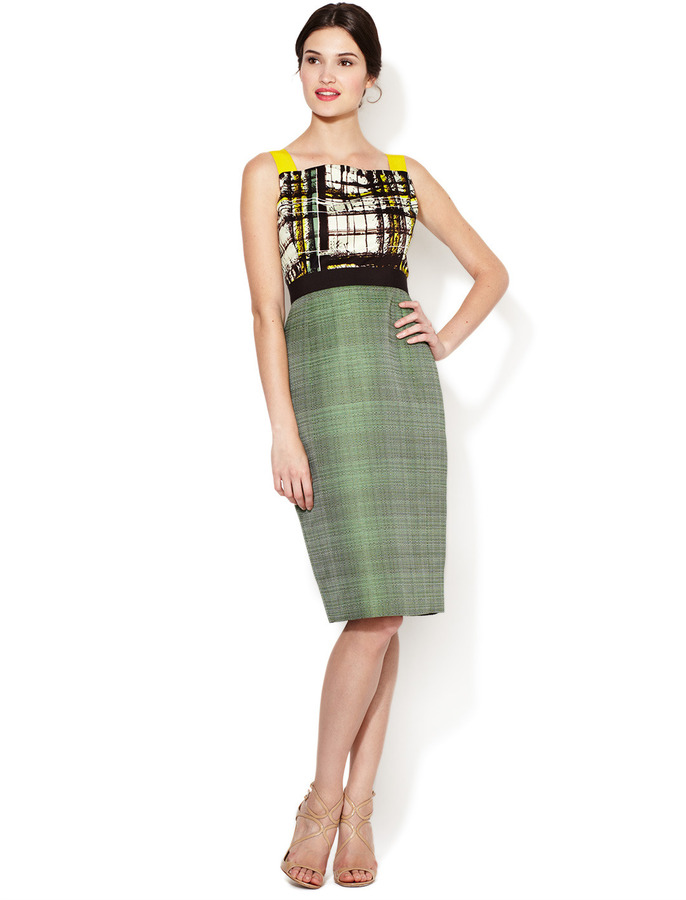 Carolina Herrera Printed Bodice Woven Combo Dress