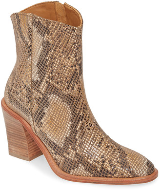 Free People Women's Casual boots BROWN - Brown Snake-Embossed Barclay Leather Ankle Boot - Women