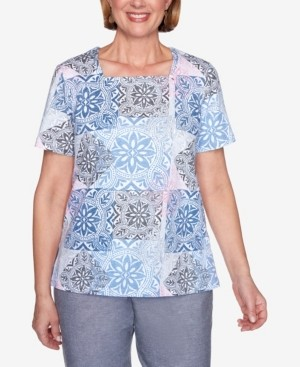 Alfred Dunner Plus Size Medallion Print Short Sleeve Knit Top