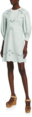 See by Chloe Borderie Anglaise Poplin Scalloped Dress