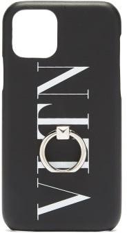 Valentino Vltn Metal Loop Leather Iphone 11 Pro Case - Black