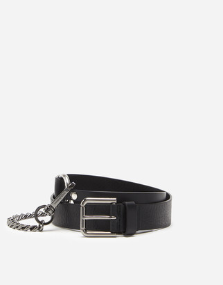 Dolce & Gabbana Lux Leather Belt With Chain Detail