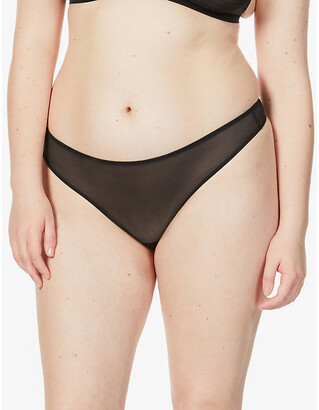 SKIMS Ladies Black Cotton Mesh Kim Kardashian West Built Up Thong, Size: XXS