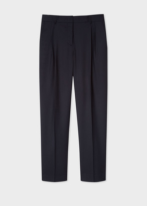 Paul Smith A Suit To Travel In - Women's Tailored-Fit Dark Navy Wool Double-Pleat Pants