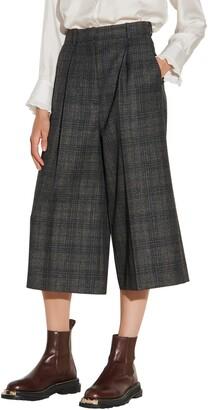 Sandro Plaid Wide Leg Crop Pants