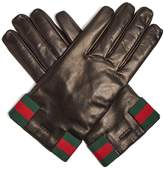 Gucci Web-striped leather gloves