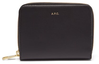 A.P.C. Emmanuelle Zip Around Leather Wallet - Womens - Black