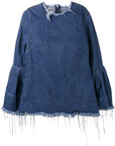 Marques Almeida Marques'almeida - denim bell sleeve top - women - Cotton - S