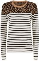 SET Leopard Stripe Sweater, White, DE 32