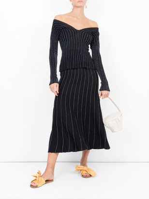 Sonia Rykiel Striped Fine Knit Sweater Black