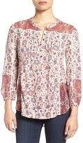 Lucky Brand Mixed Floral Print Split Neck Blouse