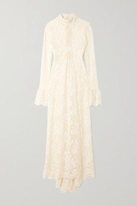Paco Rabanne Ruffled Lace Turtleneck Maxi Dress - Ivory
