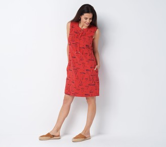 Denim & Co. Beach French Terry Lace Up Cover-Up Dress